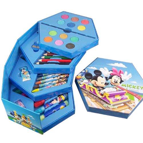 儿童学习用品   儿童全套彩笔绘画文具套装礼盒  生日礼物(共46件组合) (迪斯尼米奇套装)-图片