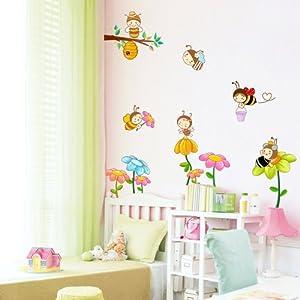 飞彩卡通墙贴纸 儿童房卧室幼儿园教师布置墙面装饰贴画 蜜蜂乐园 (a