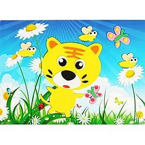 儿童手工制作eva贴画 益智拼图 立体diy美劳材料 ef01353 3d贴画老虎