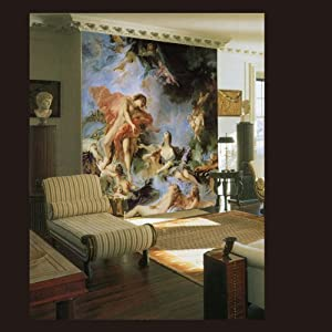欧式壁画墙纸|经典油画飞天电视沙发背景墙