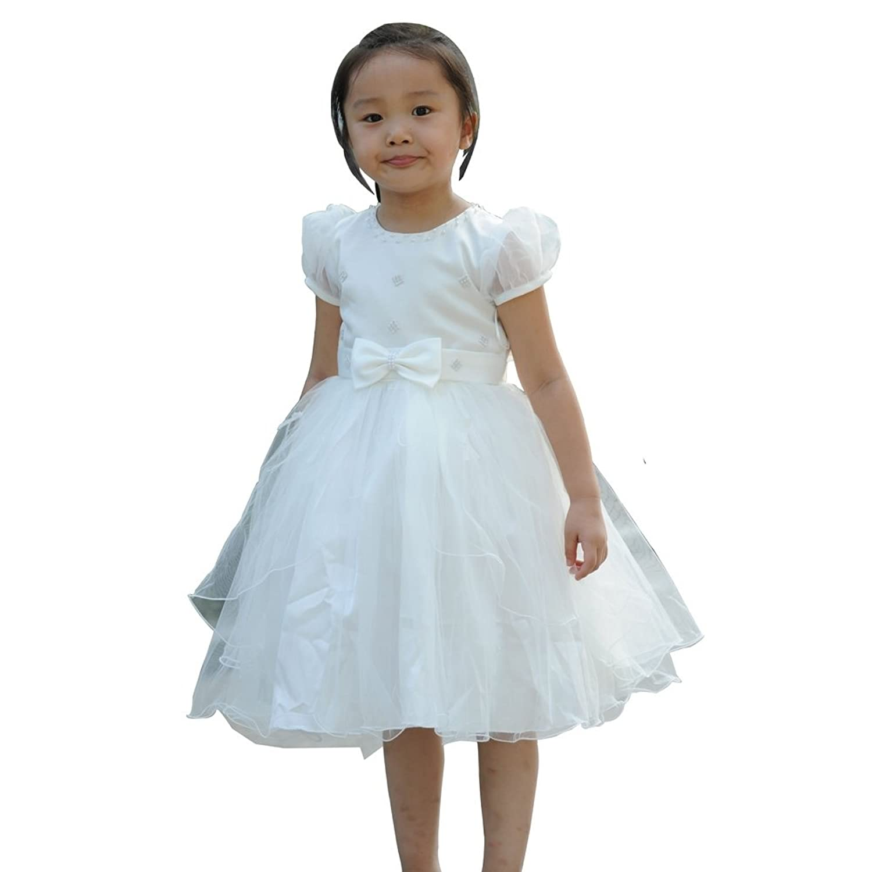 pure angel 短袖圆领花童礼服 儿童水钻公主裙 女童舞台服装 学生表演