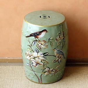 欧式手绘花鸟陶瓷鼓凳新中式古典