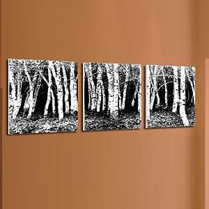 抽象风景装饰画黑白树林无框画客厅卧室挂