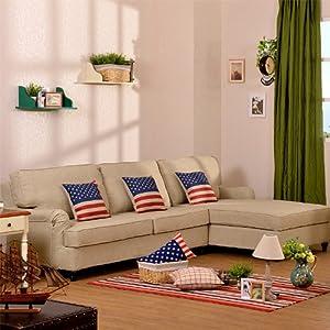 东居 地中海 北欧英伦风格 法式田园 转角布艺沙发 简约 高档亚麻
