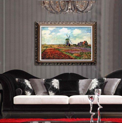 林格印象 装饰一客厅油画 世界名画 莫奈田园风景风车