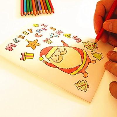 儿童涂色手绘制作新年节日感谢卡片自己做 (贺卡材料包 24色彩色铅笔)