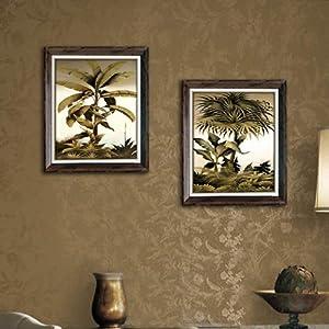 英伦植物卧室挂画 客厅欧式仿真油画 装饰画 椰子树 两幅套装:左100*