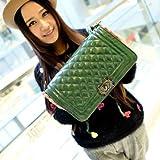 2014欧美新款韩版小包 小香风菱格包链条手提包单肩斜跨女包特价女士包包 (绿色)-图片