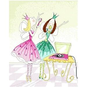 万众家园 十字绣 客厅卧室人物画 可爱卡通 小公主之唱歌 9ct 朵拉线