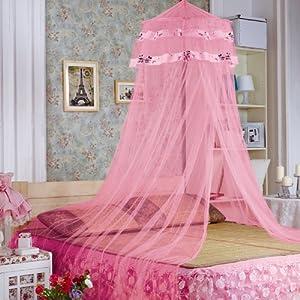 迪士尼 韩版卡通圆顶儿童蚊帐 迪士尼公主吊顶床幔 吊挂通用纱帐 粉色