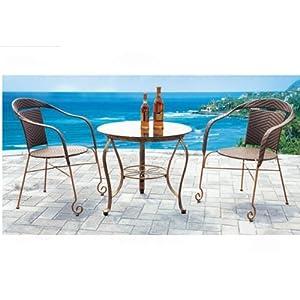 藤椅子茶几3件套酒吧仿藤欧式家具