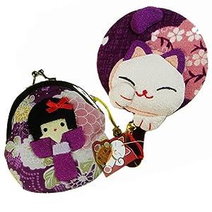 招喜屋日本正版和风招财猫系列组合促销装 可爱招手尾巴猫手柄镜(紫)