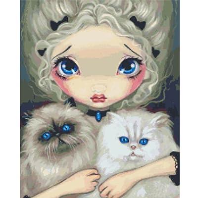 物油画抱猫的女孩