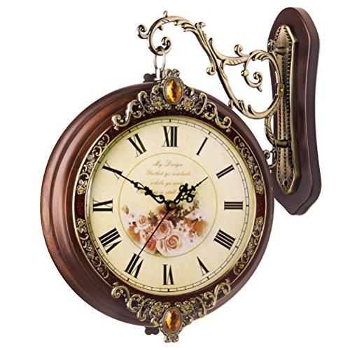 汉时钟表 欧式双面挂钟客厅静音时钟个性时尚创意石英钟挂表hds13