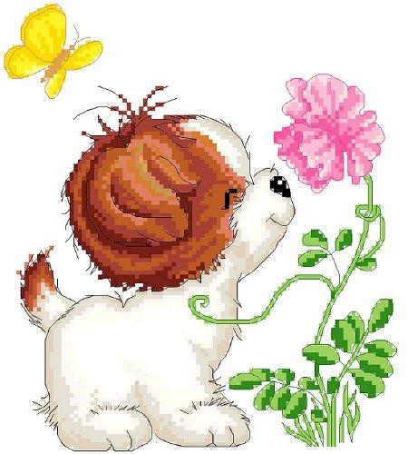 万众家园 100%精准印花印布十字绣 客厅动物画 儿童房 狗狗闻香 14ct