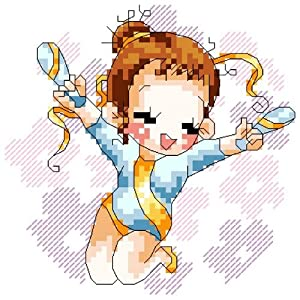 万众家园 十字绣 客厅卧室人物画 可爱卡通 体操娃娃1