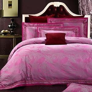 Sunfue 夏菲雪 欧式贡缎大提花四件套床上用品婚庆丝棉床品套件 1.5m(5英尺)床 雅典娜
