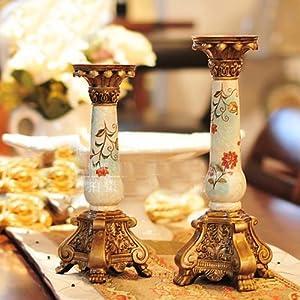 莎莲娜欧式宫廷奢华树脂彩绘复古烛台摆件