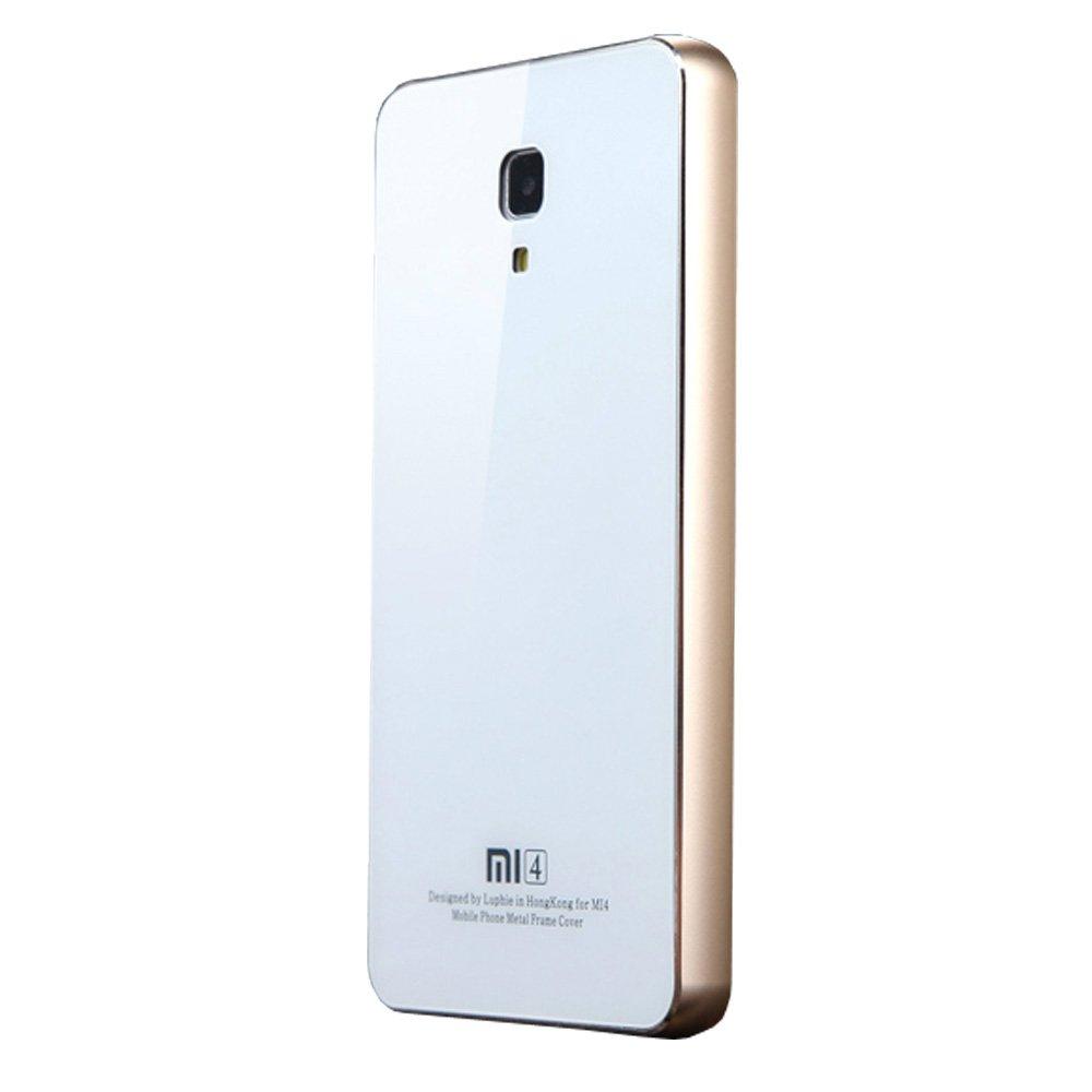 lp璐 小米4圆弧边钢化玻璃 金属边框手机壳保护外壳套