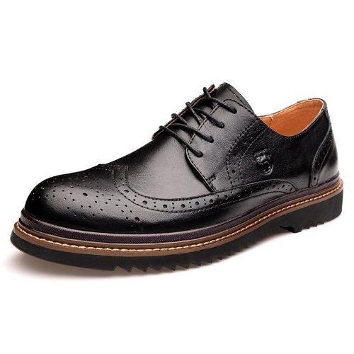 Vancamel 西域骆驼 时尚真皮高端布洛克风格厚底 工装鞋 英伦流行 男鞋 头层牛皮尊贵 时装鞋 绅士风个性商务 休闲鞋 皮鞋