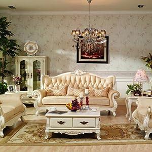 bmj 邦美居 欧式田园风格实木真皮沙发高档奢华皮沙发