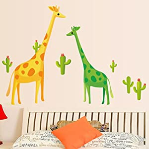 浪漫卧室客厅电视墙背景装饰卡通长颈鹿儿童房
