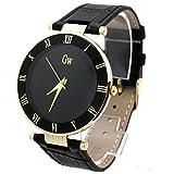 GOLD WINNER 欧美 全钢 休闲 时尚 石英 男士 防水 皮带手表GW180050金壳黑面黑带-图片
