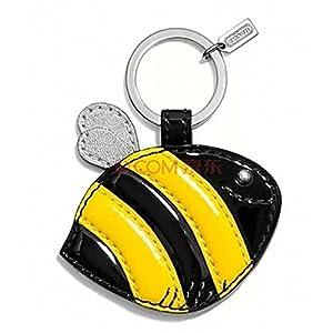 漆皮黄黑色可爱小小蜜蜂钥匙圈钥匙扣 f68558