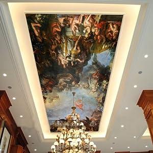 塞拉维 西方油画天使顶棚墙纸 欧式酒店吊顶天花板 大型壁纸壁画墙纸