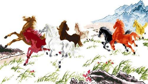 万众家园 十字绣 客厅动物画 八骏图 马到成功 八骏奔腾 14ct rs线 2