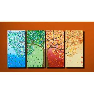 戈雅 七彩发财树,无框组合油画,尺寸30x60*4个,总尺寸