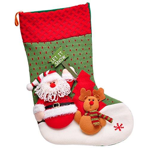 驯鹿圣诞袜子礼物袋大号圣诞礼品圣诞糖果袋送 (举牌老人和鹿款6063a)