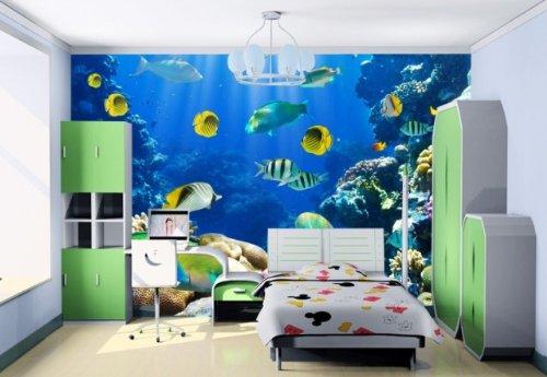 现代简约海底世界大型壁画儿童房