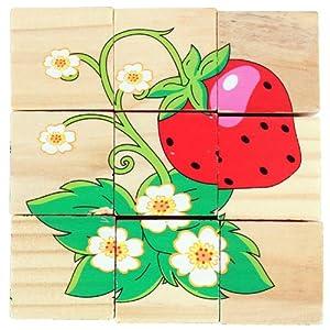 木制拼图儿童玩具 六面画植物草莓拼图