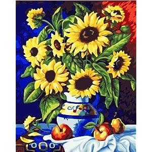 佳彩天颜 数字油画diy 客厅风景情侣结婚装饰画 向日葵花瓶 向日葵
