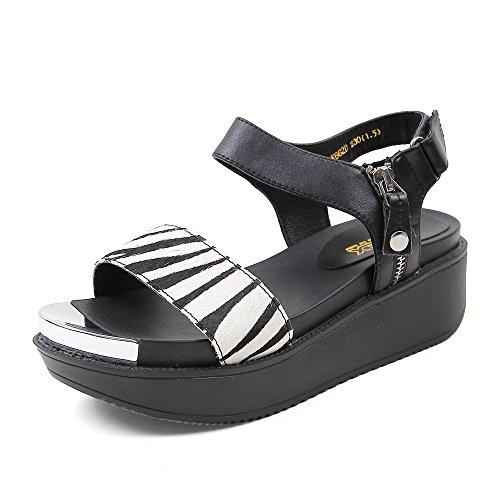 Teenmix 天美意 天美意夏季专柜同款条纹马毛牛皮女凉鞋专柜 AK661BL5