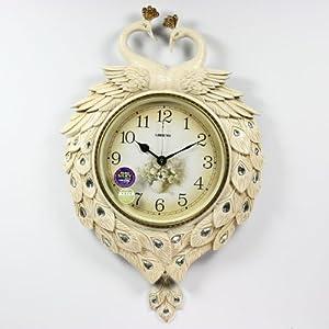 丽盛孔雀造型欧式钟表/创意挂钟/家居客厅卧室时钟图片