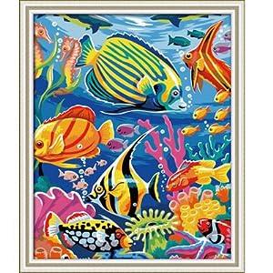 diy手绘数字油画欧式壁画海底世界