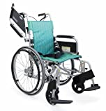 日本河村CH800轻量型多功能轮椅 22in后轮 可选碟式与鼓式刹车 活动扶手活动脚折叠靠背 (坐宽42  坐高45.5, 条形绿(鼓刹))-图片