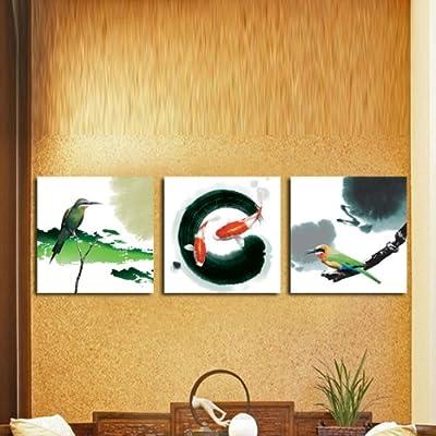 中式水墨画客厅背景墙壁画锦鲤翠鸟无框画