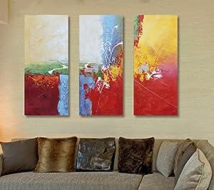 100%纯手绘油画装饰画欧式客厅抽象三联画无