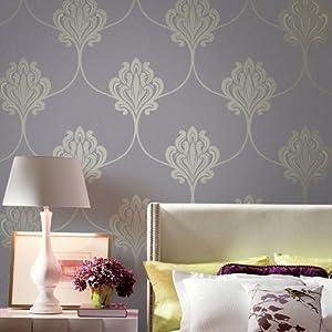 爱朵 硅藻泥去除甲醛墙纸 欧式大马士革花卉客厅卧室书房整铺壁纸 fx6