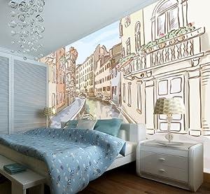 塞拉维 现代简笔画 小镇建筑风景画 电视沙发背景墙大型壁画 墙纸壁纸