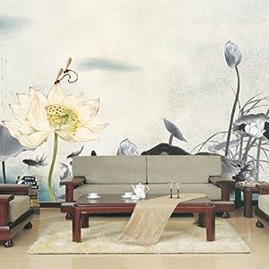 塞拉维 中式简修风格|水墨荷花莲花电视沙发背景墙|茶馆大型壁画壁纸