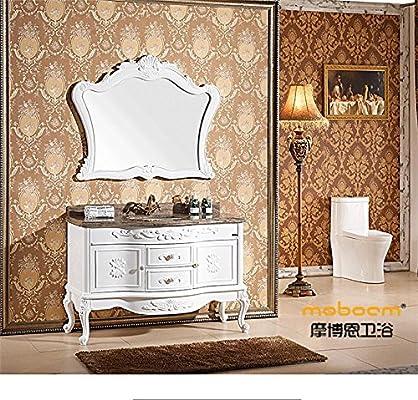 美国摩博恩简欧浴室柜大理石台面落地欧式浴室柜组合