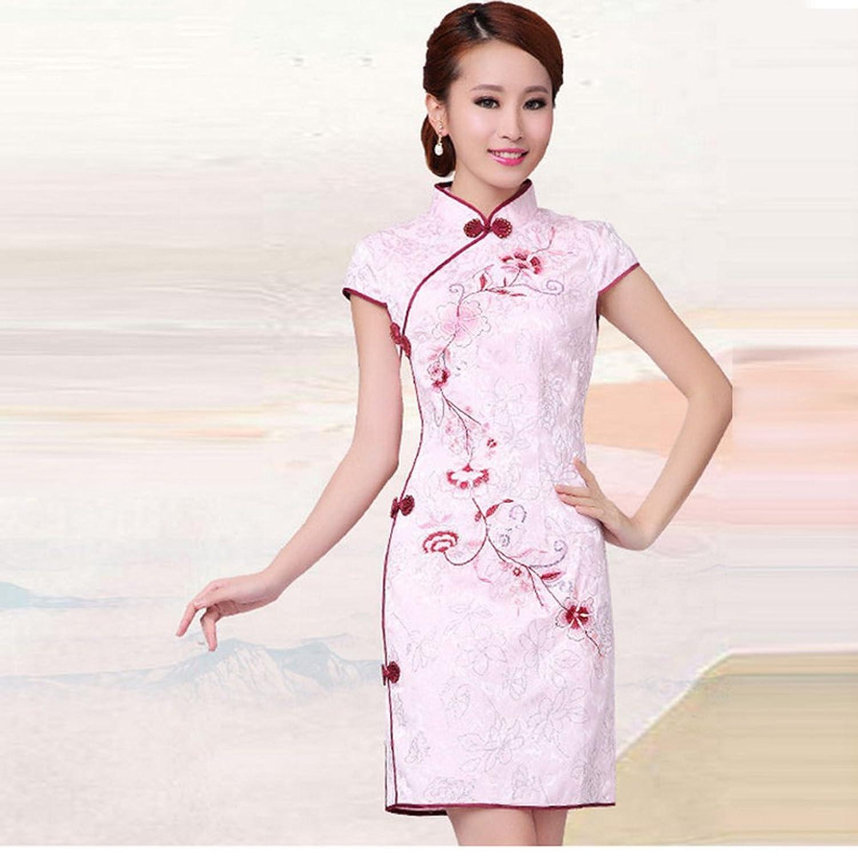 婕诗娅 白色旗袍连衣裙时尚改良中式旗袍旗袍6633 粉红色 xl