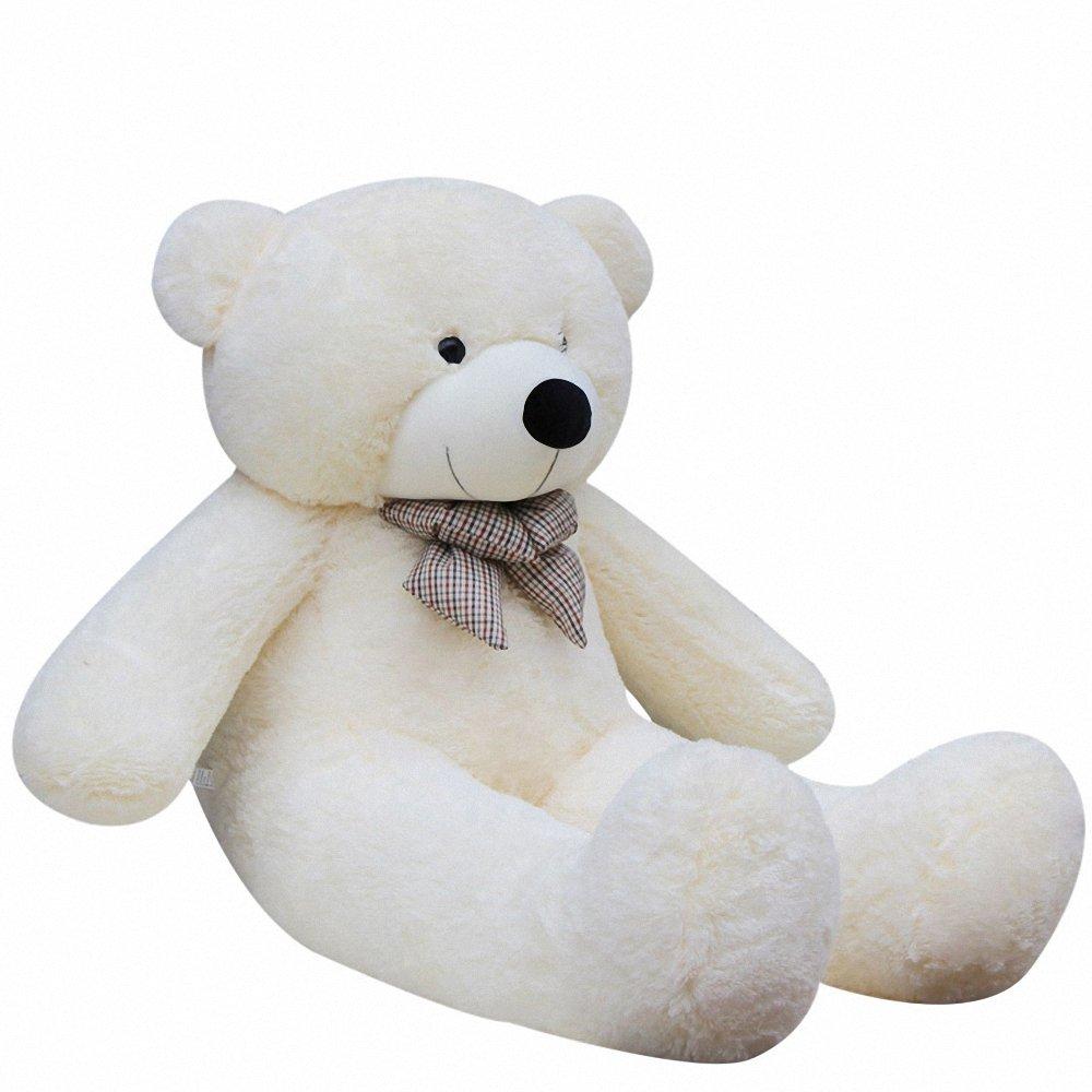 香织恋蝶 特大号毛绒玩具泰迪熊抱抱熊布娃娃公仔 白色 1.2米