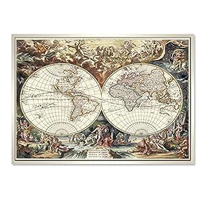 复古世界地图装饰画英文欧式有框挂画书房