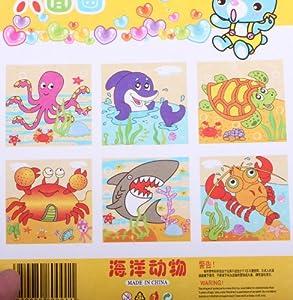 儿童卡通 木制六面画9粒方块积木立体拼图益智玩具 拼图玩具 海洋动物