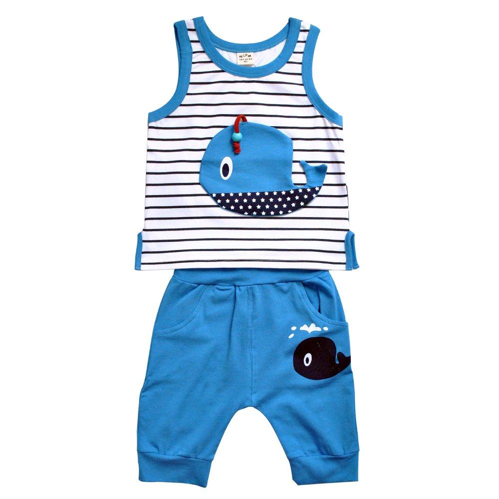 璐璇 夏款卡通鲸鱼系列14512004男款宝宝t恤套装 蓝领
